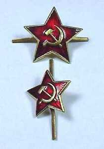 2-Original-Soviet-Russian-Cap-Hat-Badges-USSR-Army-Uniform-Military-Badges