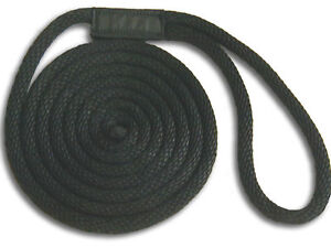 "1/2"" x 25' Solid Braid Dock Lines - Black - Made in USA"