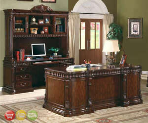 Union Hill 3 Piece Executive Desk Set Wood Hutch Office