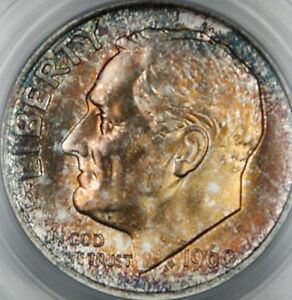 1960-Silver-Roosevelt-Dime-PCGS-MS-66-Toned-Brilliant-Coin