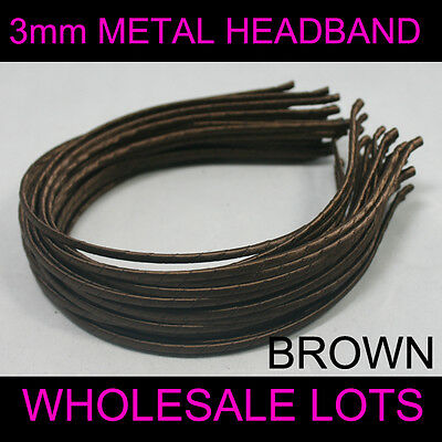 $ FREE SHIP 3mm METAL HEADBAND covered satin WHOLESALE LOTS HAIR BAND ACCESSORY
