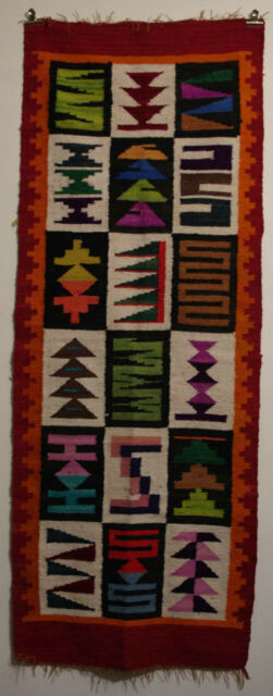 RUSTICAL~PERUVIAN~ANDEAN~HAND~WOVEN~INCA~SHEEP~WOOL~WALL~DECORATION~RUG~#~02