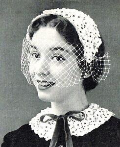 Vintage-50s-crochet-pattern-to-make-unusual-pretty-flower-hat-amp-collar