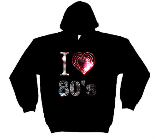 I LOVE EIGHTIES 80s HEAVYWEIGHT RHINESTUD  HOODY  HOODIES any size