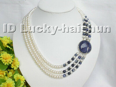 3strand white freshwater pearls lapis necklace