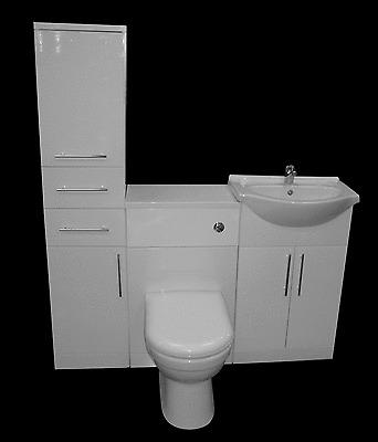 BATHROOM VANITY CUPBOARD UNIT CERAMIC SINK BASIN WC TOILET SUITE TAP WHITE GLOSS
