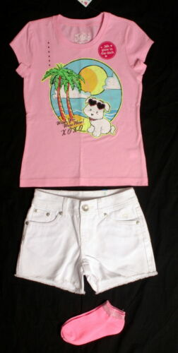 NWT girls size 6 Justice pink Lulu tee//socks or blue smock top white jean shorts