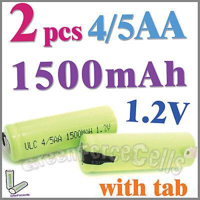 2 4/5 1500mAh AA NiMH 1.2V Rechargeable Battery w/ tab Green