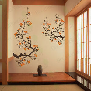 Wall Stickers For Living Room cherry blossom wall decal living room bedroom flower removable