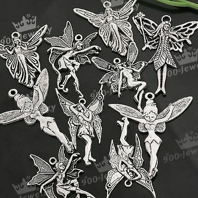 12x Mixed Tibetan Silver Various Fairy Charm Pendant Beads For Jewelry Finding