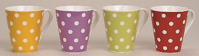 Tasse Becher Porzellan gepunktet Punkte gelb lila grün rot Kaffee Kaffeetasse