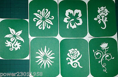 Pack of 7 FLOWERS-1 Flower Vinyl Tattoo Body Art Stencils Glitter-Airbrush