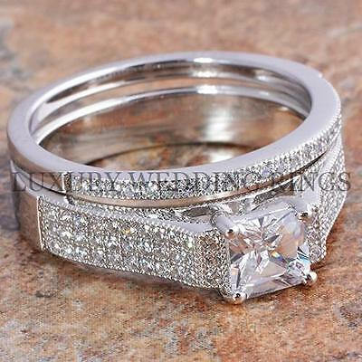 1.5 Ct Princess Cut Engagement Ring & Wedding Band Womens Bridal Set Size 5-10