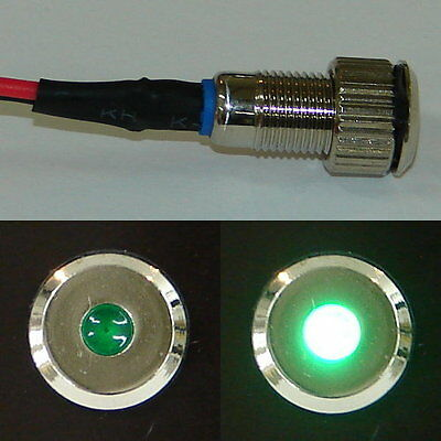 Silver Flush Mount Green LED Indicator or Warning Light for Boats