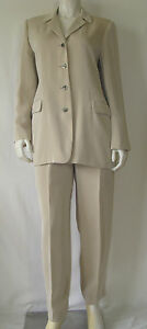 HARVE BENARD Collection Creamy Beige Career Suit Jacket & Pants Size 10 New