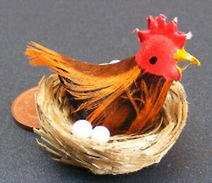 1:12th Scale Chicken With Eggs In Basket Dolls House Miniature Hen Garden