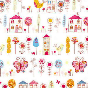 SOFT-COTTON-100-BEDDING-CLOTH-CHILDREN-BABY-FABRIC-BUTTERFLY-FLORAL-PINK-44-034-W
