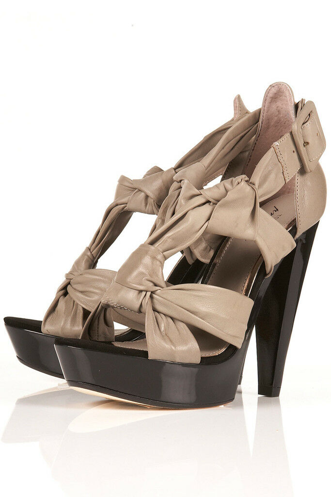 TOPSHOP Premium PEMBA knotted platform sandals UK 7 in Grey