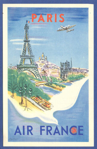 1948 Air FRANCE Airlines Advertising Old Postcard