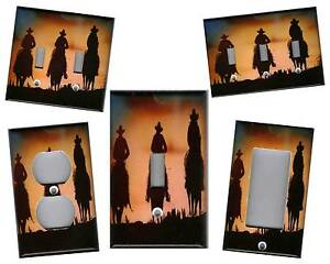 COWBOY SILHOUETTE - WESTERN COWBOY HOME DECOR LIGHT SWITCH PLATE