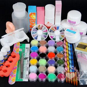 Pro-Full-Primer-24-Acrylic-Powder-UV-Liquid-Nail-Art-Tip-Pens-Brush-Kits-Set-108