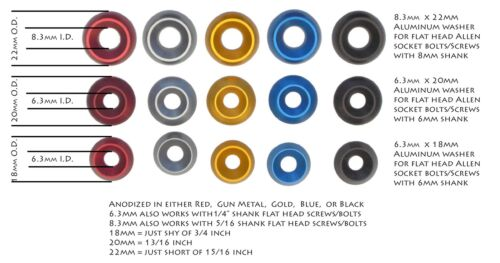 Fender Washers Conical fits 8mm /& 6mm flat head Anodized Solid Aluminum