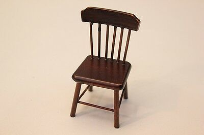 NEW Dolls House Wooden Spindle Back Dining Chair Mahogany Effect 1/12th Scale