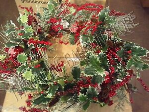 Frontgate-grandinroad-Newbury-Holly-Bell-Christmas-Ornament-Wreath-32-034-46431