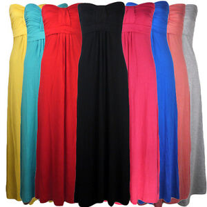 LADIES-BOOBTUBE-STRAPLESS-MAXI-BANDEAU-DRESS-WOMENS-DRESS-SIZE-8-14-8-COLOURS