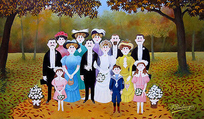 """FERNAND BOILAUGES Signed c. 1954 Original Oil Painting - """"The Wedding Party"""""""