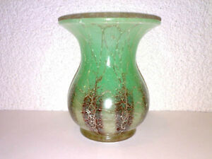 Glas-Vase-Glasvase-WMF-IKORA-Art-Deco-Gruen-Braun-Hersteller-WMF-H-13-cm