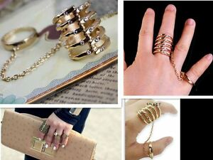 New-Fashion-Rib-Armour-Knuckle-Cocktail-Two-Double-Finger-Ring-Slave-Punk-Gothic