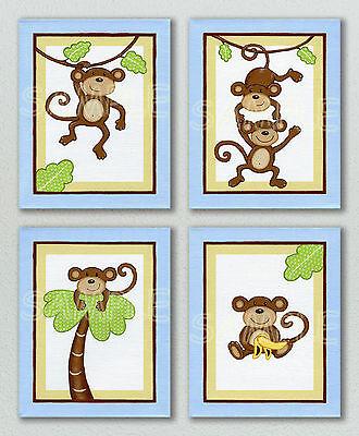 MONKEY TIME Art Prints BLUE Nursery Bedding Baby Boy Wall Decor JUNGLE ANIMAL