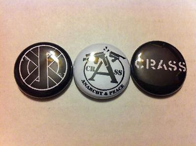 "CRASS LOT OF 3 1"" pins buttons RUDIMENTARY PENI PUNK"