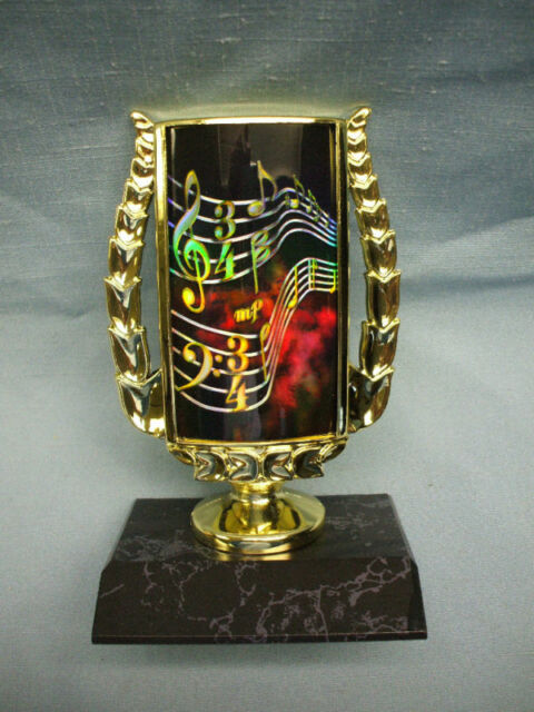 music note trophy full color insert on black wood base