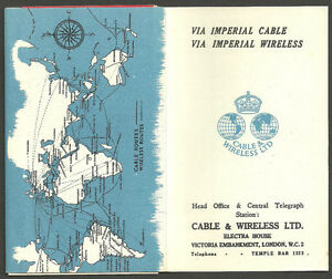 VIA-IMPERIAL-CABLE-WIRELESS-BOOKLET-3-TELEGRAMS-ATTD