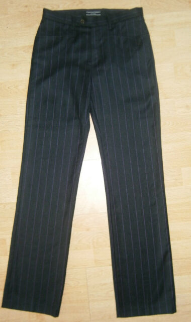 "RED VALENTINO dark grey wool stripe trousers UK 14 US 12  L 34"" 86 cm was £210"