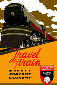 Vintage-Travel-Repro-Canadian-Pacific-Railway-Lines-24-034-x36-034-Print-on-Canvas