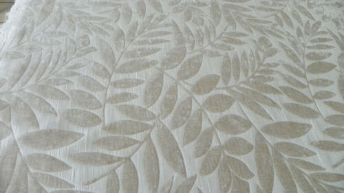 White Beige Leaf Print Chenille Upholstery Fabric 1 Yd R611