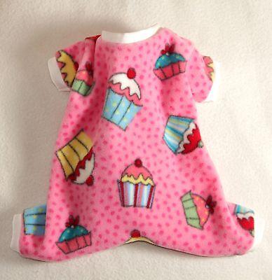 S Cupcake Cozy Fleece Dog Pajamas clothes PJS pet apparel Small