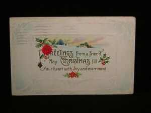 Antique-POSTCARD-c1914-034-Greetings-froma-Friend-Christmas-034-Embossed-X92