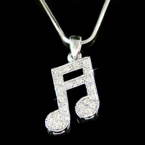 w Swarovski Crystal Semiquaver Sixteenth Music note Musical Pendant Necklace New