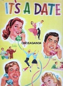 VINTAGE UNCUT IT'S A DATE PAPER DOLLS~#1 REPRODUCTION~16 PAGES CLOTHING~FABULOUS