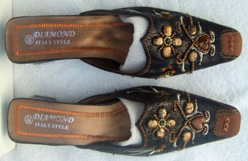 DIAMOND Italia Style Girls Ladies Shoes with Raised Decoration Front and Sides