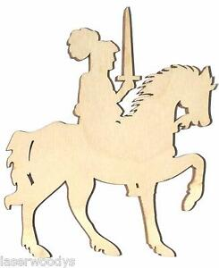 Knight-on-Horseback-Unfinished-Flat-Wood-Shapes-Cut-Outs-KH575-Variety-Sizes