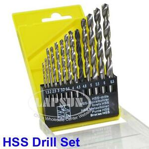 13pcs-HSS-High-Speed-Bit-Steel-Drill-Set-1-5mm-6-5mm-For-Metal-Wood-Plastic-UK