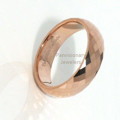 Tungsten Carbide Ring 6MM Rose Gold IP Faceted Wedding Band  Comfort Fit