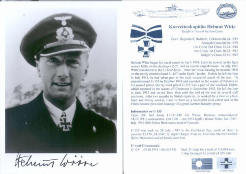 UB3 WWII WW2 U-boat Captain WITTE KC hand signed photo