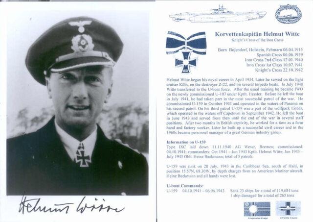 UB3 WWII WW2 U-boat Captain WITTE KC hand signed photo