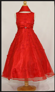 Flower-Girl-Party-Pageant-Red-Dress-Graduation-Wedding-Formal-Size-14-12-10-8-6